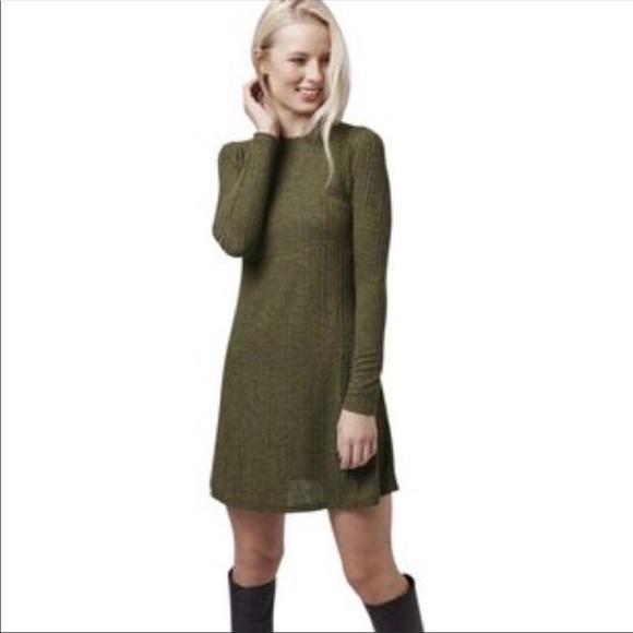 Topshop Dresses & Skirts - Topshop green long sleeve ribbed mini dress 4